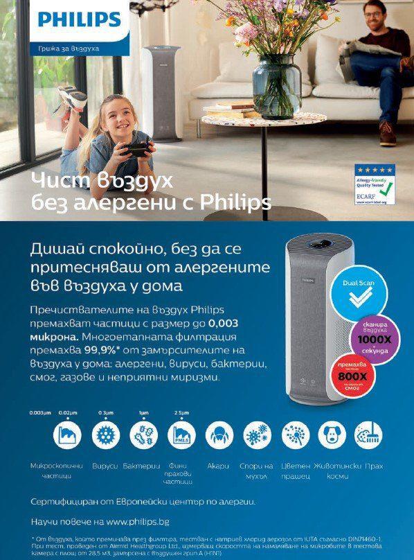 банер на Philips пречиствател за въздух